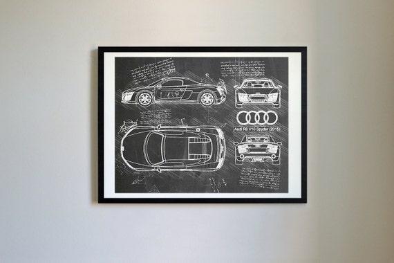 Audi r8 v10 spyder 2015 sketch da vinci vector blueprint like this item malvernweather Images