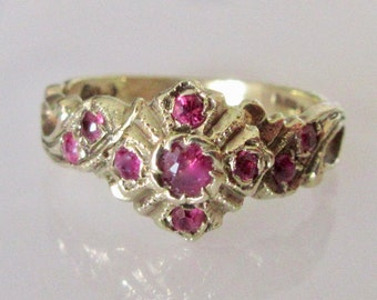9ct Gold Ruby and Diamond Ring UK Size K
