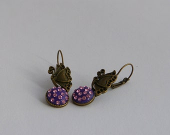 Butterfly earrings with chatons