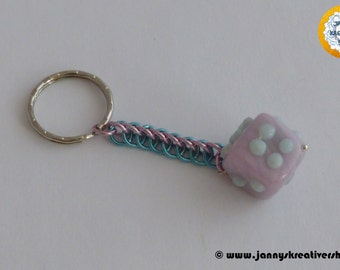 Cube made from polymer CLAY as a key pendant, Chainmaille necklace