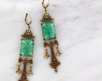 Sadie Green's Limited Edition Art Deco,Green Vintage Glass Statement Earrings | Reign Jewelry