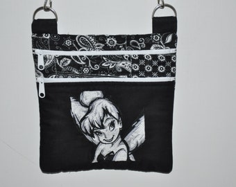 New! Disney Black & White Tinkerbell - Fabric Quilted Cross Body Messenger Bag - Tote - Shoulder Bag