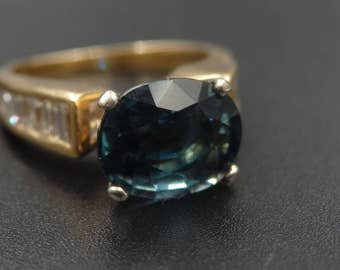 Sale! 14k gold indicolite tourmaline and 1ctw diamond ring size 5.5