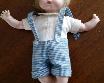 Small 6 Inch Porcelain Doll Display Doll  Blonde Hair Dressed