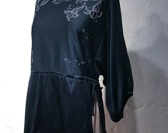 Vintage Black Blouse with Flower Print Detailing