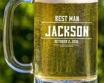 5 Groomsmen Beer Mugs, 16oz Beer Glass, Personalized  Beer Mug, Gift Ideas For Men, Best Groomsmen Gifts, Wedding Toasting Glasses, Engraved