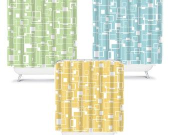 Blue Shower Curtain Yellow Bathroom Decor Green Shower Curtain Fabric  Shower Curtain Yellow Shower Curtains Geometric