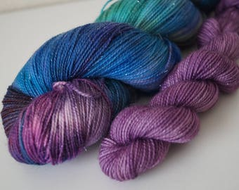 Mermaid Cove Duo on Sparkle Sock - Hand Dyed Yarn