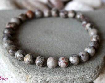 8mm Fossil Coral Bracelet, Petoskey Stone, Maifan Stone, Agatized Coral Jewelry, Fossilized Coral Bracelet, Fossil Bracelet, Coral Bracelet