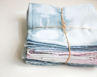 Light Teal & Light Purple Shibori Style Tea Towel