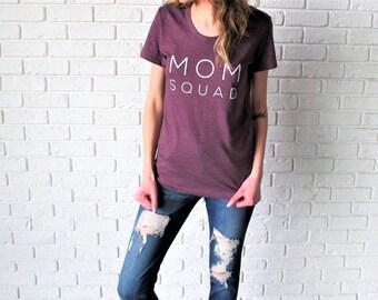 SALE: Mom Squad Tee // Heather Plum Mom Tee // Mom Tee // Mom Squad Shirt // Funny Mom T-Shirt // Mom Life Shirt