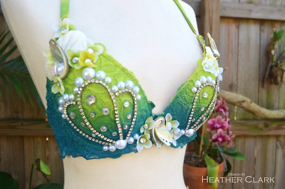 Rhinestone Lime Green and Teal Mermaid Bra with Pearl and Other Shell Embellishments --> FREE Domestic Shipping