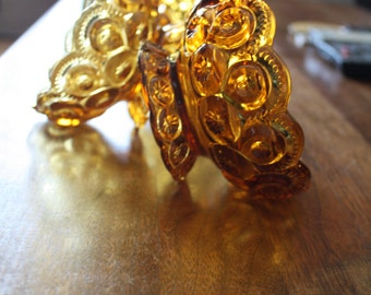Set of 3 Amber Moon and Stars Compotes