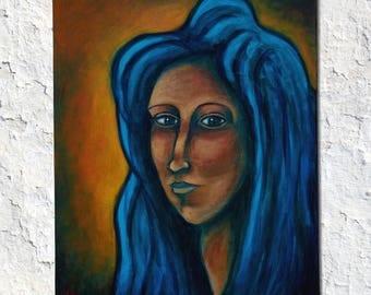 Dark Eyes, Folk Art Painting, Modern Folk Art, Modern Art, Portrait, Acrylic Painting, Original Painting by JP Goodman