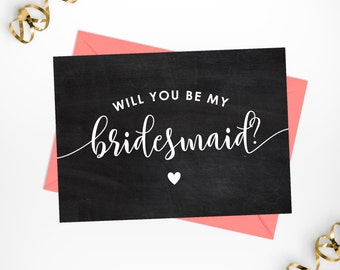 """Will You Be My Bridesmaid Printable Chalkboard Card / 5""""x7"""" Rustic Printable Bridesmaid Calligraphy Card"""