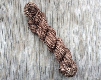 Gaia - Baby Alpaca + Silk + Fine Merino - Hand Dyed Yarn - Sport Weight Yarn - Alpaca Yarn - Silk Yarn - Sport Yarn - Semisolid Brown Yarn