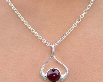Silver Garnet Necklace Garnet Pendant Garnet Jewelry Gemstone Red Garnet Pendant Red Garnet Necklace Sterling Silver Garnet Small Necklace
