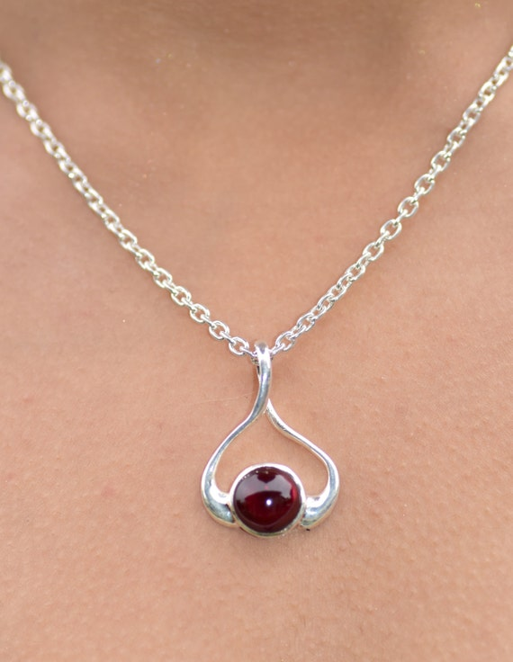 Silver garnet necklace garnet pendant garnet jewelry gemstone like this item aloadofball Images