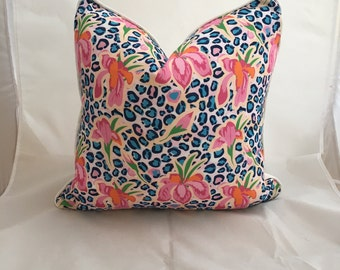 20 inch Modern Floral Cotton Feather Down Decorative Throw Pillow with Cording