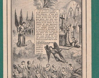 Antique French HOLY Card, Notre Dame de MONTLIGEON, the great Promise, Dated 1898, Religious