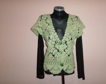 Women's knit vest Green sweater vest knit vest Knitted waistcoats wool vest cotton vest fashion clothings handknit sweaters girls waistcoats
