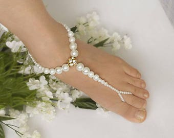Wedding Barefoot Sandals,Pearl Bridal Foot Jewelry,Gold or Silver Plated with Rhinestone Charm Footless Jewelry,Flower Girl Jewelry  -SD035