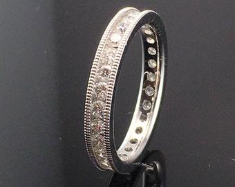 Art Deco Channel Set Diamond Wedding Band - 14K White Gold Diamond Wedding Band - Milgrain Eternity Band - Eternity Diamond Anniversary Ring