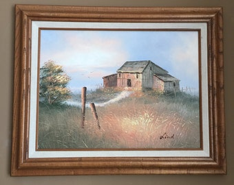 Original Oil on Canvas Barn with Fence Trees and Wheat Pastures