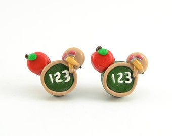 Teacher Adorable Stud Earrings. Apple, chalkboard and pencils. Teacher polymer clay earrings-VVsGrotto