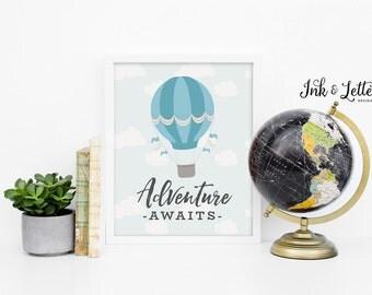 Adventure Awaits Printable - Hot Air Balloon Nursery Decor - Blue Nursery Decor - Boy Print - Adventure Printable - Instant Download - 8x10