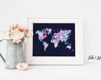 Watercolor World Map Print - Printable Wall Art - Watercolor Wall Decor - Purple Nursery Decor - Girl Nursery Art - Instant Download - 8x10