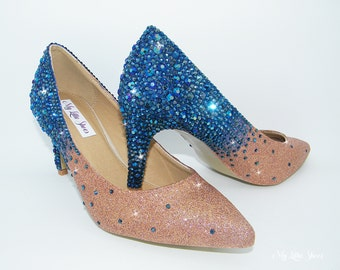 Bridal Shoes Rhinestone Deep Blue And Champagne Glitter Pointed Low Heels Wedding Bride