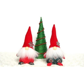 Textile gnomes, Fabric dwarves, Red cap, Subject photography idea, Gnome white beard Home decoration Holiday Christmas Gift to photographer