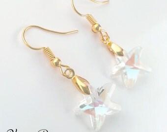Starfish Crystal Earrings - Crystal Earrings - Starfish Earrings - Gold Earrings - Aurora Borealis - Love - Mermaid Earrings