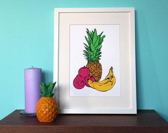 Fruit Print, Screenprint, Pineapple, A4 Screenprint, Home Decor, Fun Print, Kitchen Art, Silkscreen, Colourful Print, Tropical