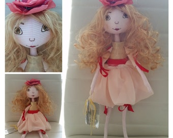 HandMade Tilda Girl Doll Gift Home Decoration Textile From ISRAEL 43 cm.