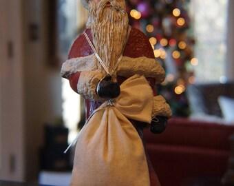 Vintage Resin Sharon Branch Santa Claus/ Handpainted/ 1987/ Country Christmas/ Folk Art/ Country Santa/ Country LIving