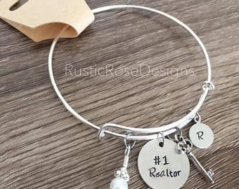 Realtor bracelet / Realty charm bangle bracelet gift / Real estate agent / #1 Realtor thank you gift / Hand stamped jewelry / Key charm