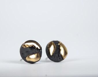 mens earrings, black and gold earrings, round earrings, black porcelain and gold earrings, ceramic jewelry, porcelain earrings