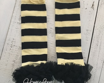 Ready to ship! Bumblebee yellow black with or without ruffle leg warmers bee Halloween Costume leggings stocking legwarmers infant baby girl