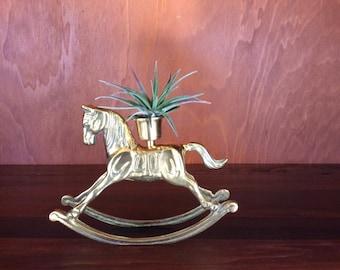 Vintage Brass Rocking Horse-Rocking Horse Candleholder