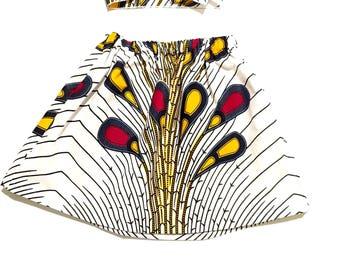 White African Ankara Skirt, Headwrap, African Baby Clothes, Hair Wrap, Hair Accessory, Girls Clothing, Yellow Skirt, Blue Skirt