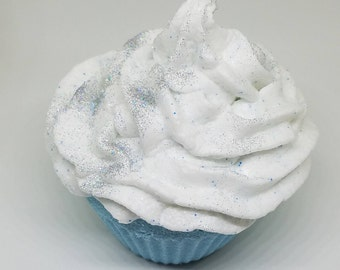 Blueberry Cupcake Bath Bomb with Sugar Scrub Soap Frosting, Cupcake Bath Bomb, Sugar Scrub, Summer Bath Bomb
