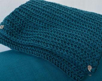 Super long teal blue scarf with leaf detail