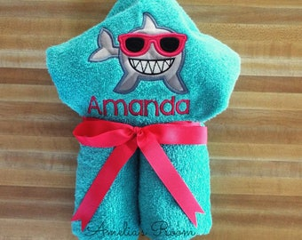 Personalized Shark with Sunglasses Hooded Towel, Girls Towel, Shark, Beach Towel, Bath Towel Embroidered, Monogrammed, Personalized