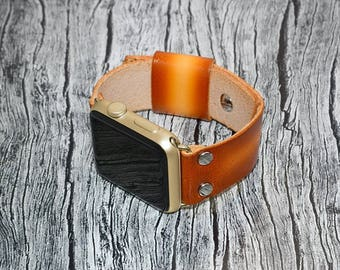 Tan Genuine leather apple watch band 42mm / 38mm // apple watch strap leather - iwatch band leather accessories - iwatch strap adapter