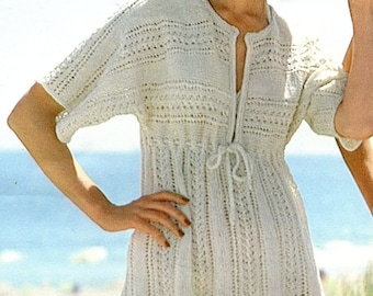 Vintage Beach Cover Up Knitting Pattern PDF Instant Download