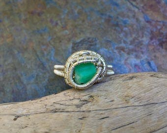Emerald Ring - Sterling Silver Wire Wrapped Ring - Size 10 - Raw Emerald Jewelry - May Birthstone - Handmade Emerald Wire Wrap