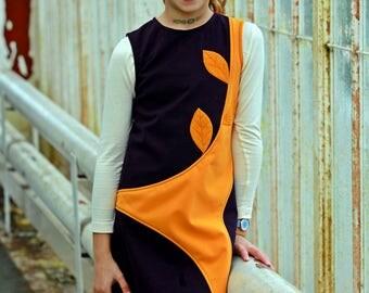 Applique dress/ Kids pinafore dress new look/ Sleeveless dress cute spring dress/ Shift dress children floral dress/ Toddlers midi dress