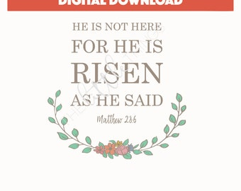Easter Print - He is not here for He has risen as He said - Matthew 28 - Easter Religious Printable - He is Risen Download - Easter Art